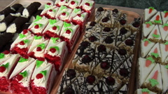 Shot of a variety of  bakery desserts Stock Footage