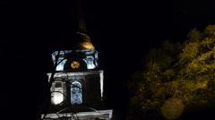 Old Churchin Autumn Night with Lights of Bridge, Static Shoot Stock Footage