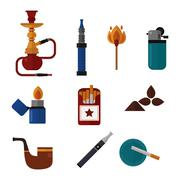 Smoking silhouette vector icons collection Stock Illustration