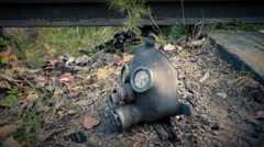 Gas mask on the railroad Stock Footage