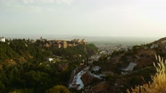 Panoramic view of Granada city in andalusia Spain with famouse alhambra Stock Footage