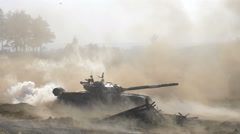 Shooting russian tank, T 72 attack, Tank rides, dust, smoke, military action Stock Footage