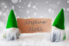 Green Gnomes With Snow, Joyeux Noel Means Merry Christmas Stock Photos