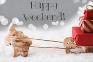 Reindeer With Sled, Silver Background, Text Happy Weekend Stock Photos