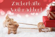 Reindeer, Red Background, Zauberhafte Weihnachten Means Magic Christmas Stock Photos