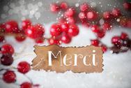 Burnt Label, Snow, Snowflakes, Merci Means Thank You Stock Photos