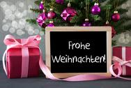 Tree With Gifts, Bokeh, Text Frohe Weihnachten Means Merry Christmas Stock Photos