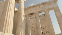 Tilt up shot of columns of the erechthion at the acropolis in athens Stock Footage