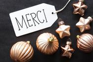 Bronze Christmas Tree Balls, Merci Means Thank You Stock Photos