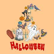 Halloween celebration symbols in witch hat shape Stock Illustration