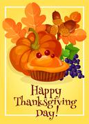 Thanksgiving Day traditional greeting card design Stock Illustration