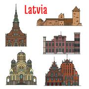Latvia famous historic architecture icons Stock Illustration
