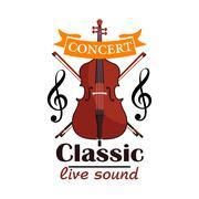 Double Bass. Classic live concert emblem Stock Illustration