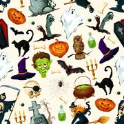 Halloween holiday cartoon horror seamless pattern Stock Illustration