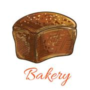 Bread loaf sketch icon for bakery shop Piirros