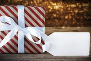 Atmospheric Christmas Gift With Copy Space Stock Photos