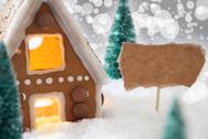 Gingerbread House, Silver Background, Copy Space Stock Photos