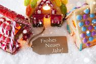 Colorful Gingerbread House, Snowflakes, Frohes Neues Means Happy New Year Stock Photos