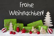 Decoration, Cement, Snow, Frohe Weihnachten Means Merry Christmas Stock Photos
