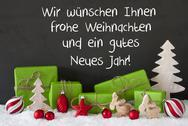 Christmas Decoration, Cement, Snow, Gutes Neues Means Happy New Year Stock Photos