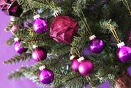 Blurry Rose Quartz Chrismas Balls On Tree Stock Photos