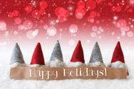 Gnomes, Red Background, Bokeh, Stars, Text Happy Holidays Stock Photos