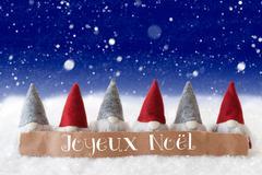 Gnomes, Blue Background, Snowflakes, Joyeux Noel Means Merry Christmas Stock Photos