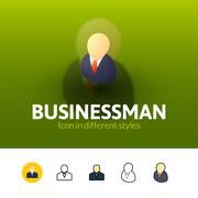 Businessman icon in different style Stock Illustration