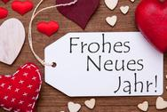 Label, Red Hearts, Flat Lay, Frohes Neues Means New Year Stock Photos