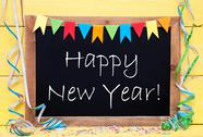Chalkboard With Party Decoration, Text Happy New Year Stock Photos