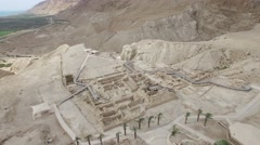 Qumran Visitors Center excavations overview -  (Israel aerial footage) Stock Footage