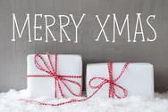 Two Gifts With Snow, Text Merry Xmas Stock Photos