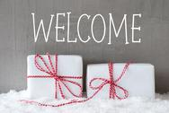 Two Gifts With Snow, Text Welcome Stock Photos
