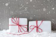 Two Gifts With Snowflakes, Copy Space Stock Photos