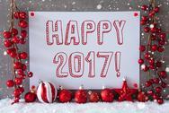 Label, Snowflakes, Christmas Balls, Text Happy 2017 Stock Photos