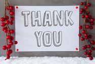 Label, Snow, Christmas Decoration, Text Thank You Stock Photos