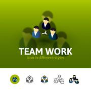 Team work icon in different style Piirros