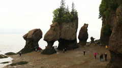 Hopewell Rocks, Hopewell Cape, New Brunswick, Canada Stock Footage