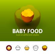 Baby food icon in different style Stock Illustration