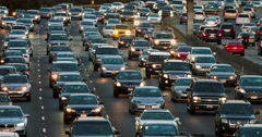 Traffic jam and congestion during night rush hour on freeway in Los Angeles 4K Stock Footage