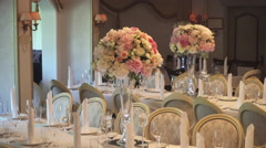 Table Setting For a Wedding With Flowers Stock Footage
