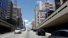 Paulista Avenue in Sao Paulo, Brazil Stock Footage