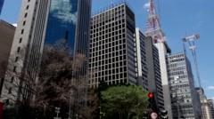 Paulista Avenue, Sao Paulo, Brazil Stock Footage