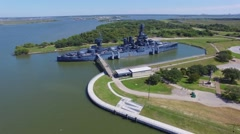 Aerial view of BattleShip Texas in La Porte City, Texas Stock Footage