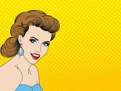 Pretty Pop Art Girl Stock Illustration