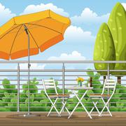 Illustration of a balcony, a terrace with tables and chairs Stock Illustration