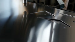 Cut sheet metal at workshop with a modern tool in heavy industry Stock Footage