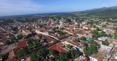 Bird's-eye panoramic view to roofs of ancient houses, main roads, buildings, Stock Footage