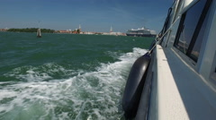 Vessel on Mediterranean sea with Venice city far in the background Stock Footage