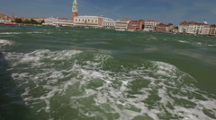 View from venetian vaporetto public transport boat to Venice panorama. Stock Footage